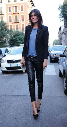 attitude is everything: grey shirt, black jacket and leather pants (Emmanuelle Alt)