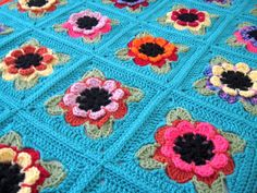 Ready to ship. 3d Flowers Afghan Handmade, Hand crocheted afghan / throw / blanket. Free US shipping.