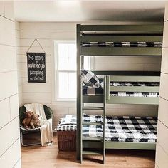 Do you have bunk beds? Or a triple bunk? has the coolest triple bunk.and if you have ever tried making a bunk bed, it is so hard. With Beddy's all you have to do is zip! Bunk Beds Small Room, Bunk Beds Boys, Bunk Bed Rooms, Bunk Beds With Stairs, Kid Beds, Small Rooms, Boys Bunk Bed Room Ideas, Black Bunk Beds, Bedroom Ideas