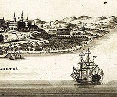 Vue de Québec, capitale du Canada - Carte illustrée présentant un remarquable panorama de la ville de Québec, capitale de la Nouvelle-France en 1755.