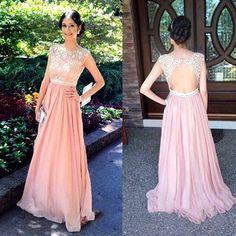 Open Back Lace Prom Dress, Long Blush Pink 2016 Prom Dress, Lace Prom Dress, Dresses For Prom, Sexy on Luulla