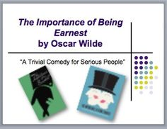 "This 9-slide PowerPoint presentation provides the necessary background information students need to know before reading Oscar Wilde's ""The Importance of Being Earnest."" Information includes:-Explanation of how Jack uses the name Ernest-The reason for conflict-Overview of the Aesthetic Movement-Literary terms-Characteristics of the well-made play-Diagram illustrating the relationship of the charactersA fill-in-the-blank version is included for students to use in taking notes."