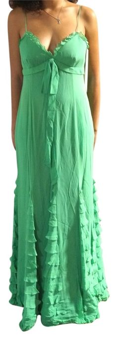 Kay Unger Green Silk Chiffon Ruffled Tiered Evening Gown