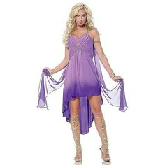 Women's Purple Roman Goddess Costume (39 CAD) ❤ liked on Polyvore featuring costumes, halloween costumes, purple halloween costumes, ladies halloween costumes, womens capelet, womens halloween costumes en womens costumes