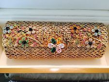 CRYSTAL JEWELED GOLD EVENING BAG CLUTCH-WENDY LAU'S EDDIE NEW YORK, ONE OF ONE