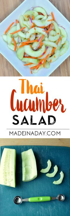 Tangy Thai Cucumber Salad, Recreate this restaurant favorite at home! Tangy sweet marinated cucumbers. Recipe on madeinaday.com via @thelovelymrsp