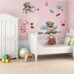 Free Shipping 50*70cm DIY Teddy Bear Cartoon Wall Sticker Kids Rooms Decor Sofa Background PVC Sticker Removable Wall Stickers