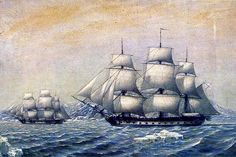 """January 28, 1820: Commander Fabian Gottlieb von Bellingshausen, already notable as the first Russian sea captain to circumnavigate the world in 1803, sights the Antarctic mainland during the first Russian Antarctic Expedition. The sloop-of-war """"Vostok"""" and its support ship """"Mirny"""" are shown here, sailing the waters off of Alexander Island."""