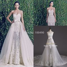 Newest Luxury Sheer Wedding Dresses 2015 With Detachable Train A Line Court Train Lace Customed Ivory Bridal Gowns Cheap DS179
