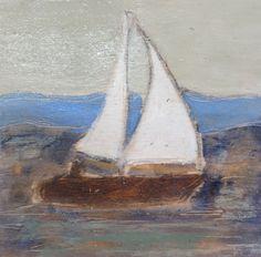 """Pa's Sailboat"" 6x6 by Karen Bezuidenhout sold. www.karenbezuidenhout.com"