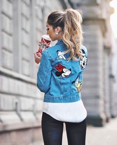 ZARA x Disney Cute Disney Outfits, Disney World Outfits, Disneyland Outfits, Cute Outfits, Disney Clothes, Disney Fashion, Disney Patches, Toy Story Shirt, Denim Jacket Patches