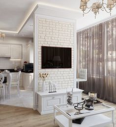 Bedroom wallpaper white interior design Ideas for 2019 Bedroom Wallpaper White, Brick Wallpaper Living Room, White Brick Wallpaper, Brick Wall Bedroom, White Brick Walls, White Bricks, Modern Kitchen Design, Interior Design Kitchen, Modern Design