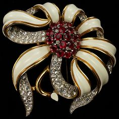 Trifari 'Alfred Philippe' Gold Pave White Enamel and Rubies Passion Flower Pin Clip