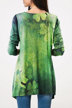 Round Neck Printed Irregular hem Long Sleeve T-Shirt #Irregular, #AD, #Printed, #Neck, #hem #Adver