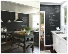 væg i køkken malet med tavlemaling og tavlelak