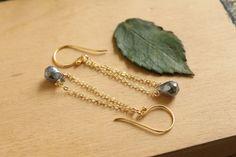 Mystic Labradorite Teardrop Earrings. Gold Gemstone Earrings. Gold Trapeze Earrings. Modern Gemstone Earrings. by EveilleJewelry on Etsy