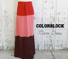 how to make a colorblock maxi dress by KristinaJ.  I would change up top for ruffled halter and add elastic at waist.