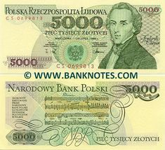"""Poland 5000 Zlotych 1988  Front: Polish composer Frédéric François Chopin (Fryderyk Franciszek Chopin) (1810-1849). Coat of arms. Back: Notes of Chopin's """"Polonaise"""". Watermark: Crowned Eagle, Polish Coat of arms. Date of Issue: 1 December 1988."""