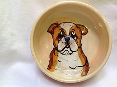 Dog Bowl 8 Bulldog Dog Bowl for Food or Water Personalized at no Charge Signed by Artist Debby Carman ** Details can be found by clicking on the image.(This is an Amazon affiliate link and I receive a commission for the sales)