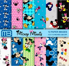 Mickey Mouse Scrapbook Papier Pack  Cliart-Digital Papier
