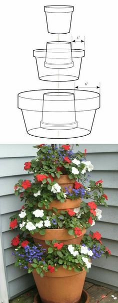 How to Make A Terra Cotta Pot Flower Tower with Annuals. Take container gardening to the next level…go vertical! This easy to make flower tower can dramatically enhance vertical space with vibrant summer long color. Supplies Needed Lawn And Garden, Garden Art, Home And Garden, Herb Garden, Garden Planters, Balcony Garden, Potted Garden, Tower Garden, Flower Planters