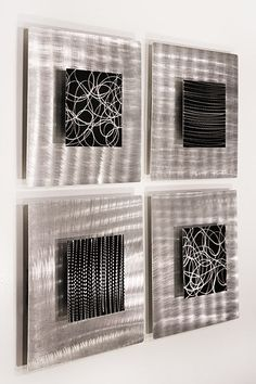 new modern metal abstract wall art silver black freestyle artwork by jon allen