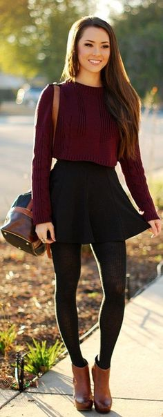 Reasons-to-wear-dark-colored-dresses-in-winter: Fall matron sweater with black skirt, ribbed tights, and brown high boots