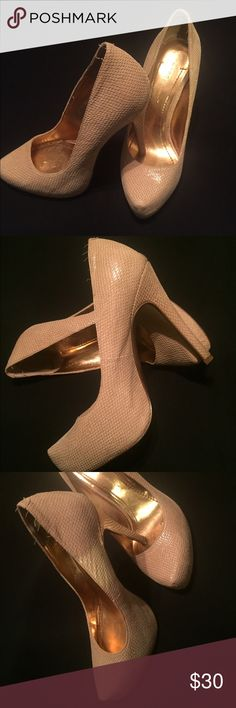 High heels Worn but still great! Nude/tan color. Bcbgeneration. Size 6/36. $30 OBO BCBGeneration Shoes Heels
