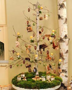Birch & Animals Tabletop Tree