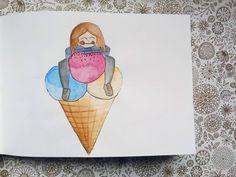 #artnestoltes DÍA 9 - Comida  Acuarela + rotring calibrados  #artnestoltesllotja #cadadosdias #helado #icecream #ilustrations #ilustración #ilustracioninfantil #ilu #ilustración #art #arte #artwork #design #dibujo  #draw #drawing #followforfollow #azul #cucurucho #acuarela #rotring #sketchbook #sketching  #libreta #llibreta #challenger