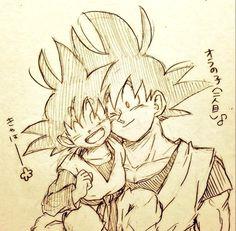 Big Chibi and Little Chibi Goku and Goten