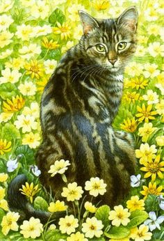 Items similar to Cat print Lesley Anne Ivory tabby cat in yellow flowers feline illustration x 11 inches on Etsy Image Chat, Cat Drawing, Beautiful Cats, Animal Paintings, Crazy Cats, Cat Art, Pet Birds, Cats And Kittens, Cute Cats