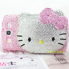 Cute Crystal Bow Mirror Hello Kitty Case Cover For Samsung Galaxy i9300 S III S3