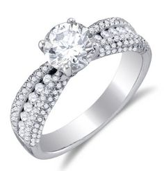14K White Gold Large Diamond Engagement Ring — Solitaire setting w/ Pave & Channel Set Round Diamonds ($2,809.00)