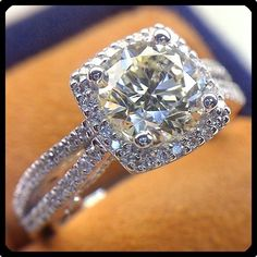 Princess cut with halo and inverted split shank