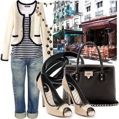 Let's walk around! Comfy jeans, striped shirt and vintage black and white blazer. Ready!