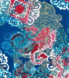 Stretch Charmeuse Fabric-Medallion Teal