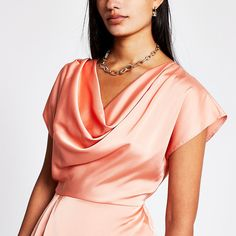 Coral cowl neck blouse | River Island Cowl Neck Top, River Island Womens, Peplum, Sleeves, Coral, Tops, Products, Fashion, Moda