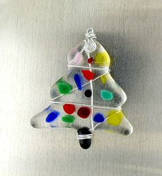 Fused Glass Christmas Tree Ornament Fused Glass by SantaFeKiss