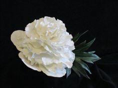 peony cake topper wedding bridal gumpaste sugar edible white pink red spring keepsake on Etsy, $45.00