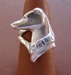 Sterling Silver Greyhound Head Study Ring With A CZ Collar
