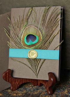 Peacock Wedding Invitation by WildflowerDes on Etsy, $7.00