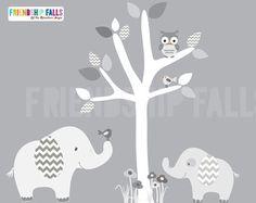 Baum Mini Dschungel Abziehbilder, kleine Elefant Wall Decal, Kinderzimmer Wand Aufkleber, Elefant, Freundschaft Falls Wand Aufkleber, Chevron grau & weiss