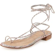 Stuart Weitzman Nieta Striped Lace-Up Sandal (575 BRL) ❤ liked on Polyvore featuring shoes, sandals, bisque prism napp, flat shoes, ankle strap shoes, lace up flats, lace up flat sandals and suede lace up sandals