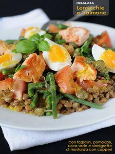 Insalata di lenticchie e salmone
