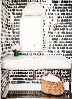 Add an edgy touch with an abstract black + white wallpaper.