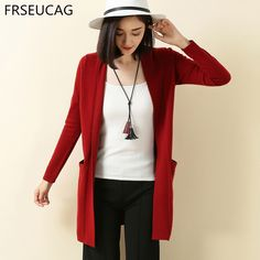 FRSEUCAG 2017 Autumn and winter new v neck knit cardigan solid color cashmere sweater long sleeve women's jacket Fashion upscale