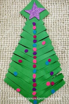 Christmas Trees For Kids, Christmas Tree Crafts, Simple Christmas, Christmas Ornaments, Toddler Preschool, Toddler Crafts, Preschool Activities, Crafts For Kids, Paper Folding Crafts