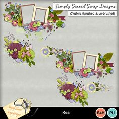 Pack of 3 Clusters for the Kea kit. Personal & Scrap for Hire use only. Full size. 300dpi. 3 shadowed clusters and 3 unshadowed clusters included. #mymemories #mymemoriessuite #scrapbooking #digitalscrapbooking #digiscrapbooking