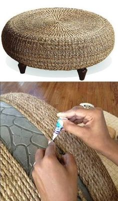 Tire ottoman for screen patio | #recycling | http://bestoutofwaste.org More: